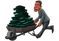 Business man carrying a cart with a lot of money Stock Image