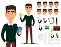 Business man cartoon character creation set. Royalty Free Stock Photo