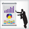Business man with chart Stock Images