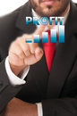 Business man click button to activate growing profit chart or ba Royalty Free Stock Photo