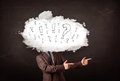 Business man cloud head with question and exclamation marks concept Stock Photos