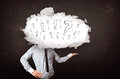 Business man cloud head with question and exclamation marks concept Royalty Free Stock Image