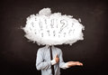 Business man cloud head with question and exclamation marks concept Royalty Free Stock Photos