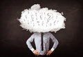 Business man cloud head with question and exclamation marks concept Stock Photo