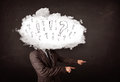Business man cloud head with question and exclamation marks concept Stock Images