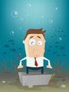 Business man in concrete block underwater illustration of a Stock Photography