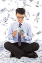 Business Man Counting Money Wi...