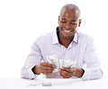 Business man counting money successful isolated over white Royalty Free Stock Images