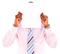 Business man covering with banner his face a isolated over white Royalty Free Stock Photography