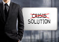 Business man cross crisis and find solution concept of success Stock Images