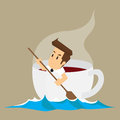 Business man in cup of coffee, addictive coffee Royalty Free Stock Photo