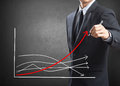 Business man drawing growth chart Royalty Free Stock Photo