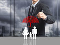 Business man drawing insurance concept at office Royalty Free Stock Photo