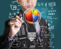 Business man drawing pie chart diagram Royalty Free Stock Photo
