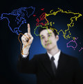 Business man drawing world map graph Stock Photos