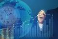 Business man draws a profit growth chart