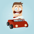 Business man driving a car funny illustration of Royalty Free Stock Images