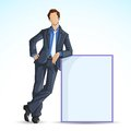 Business Man with Empty Board Stock Images