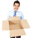 Business man with an empty box Stock Photos