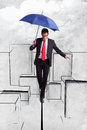 Business man in equilibrium over illustrated city Royalty Free Stock Photo