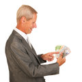 Business man with euros Royalty Free Stock Images