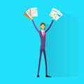 Business man excited hold hands up raised arms with paper documents happy smile businessman flat vector illustration Royalty Free Stock Images