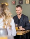 Business man with female colleague at coffeeshop handsome young men Stock Photo