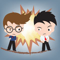 Business man fighting face to face illustration vector in flat design Royalty Free Stock Images