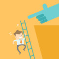 Business man get competitor attack ladder fall Stock Photography