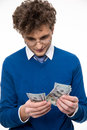 Business man in glasses counting money Royalty Free Stock Photo