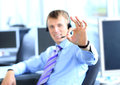 Business man going thumbs up Royalty Free Stock Photo