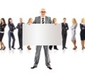 Business man and group holding a banner ad, Stock Images