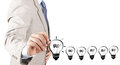 Business man hand drawing idea light bulb Royalty Free Stock Photo