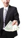 Business man hand holding money usa one dollar isolated on white background Stock Photo