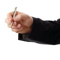 Business man hand holding pen isolated on white background Royalty Free Stock Image