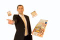 Business man handing a money Stock Image