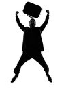 Business man happy joyful jumping silhouette Royalty Free Stock Photo