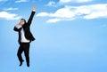 Business man happy jump Royalty Free Stock Photo