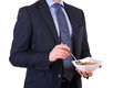 Business man having breakfast with cereal bowl Stock Image