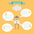 Business man on health stress symptom infographic concept Royalty Free Stock Image