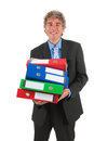 Business man with heavy archive Royalty Free Stock Photo
