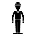 Business man helmet contruction manager pictogram