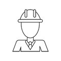 Business man helmet contruction manager thin line
