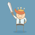 Business man hold sword and crown win the idea Stock Images