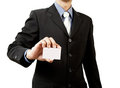 Business man holding blank business card Royalty Free Stock Photography