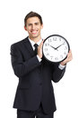 Business man holding clock half length portrait of isolated on white Stock Image