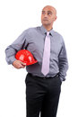 Business man holding contruction helmet Stock Image