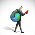 Business Man holding Earth Royalty Free Stock Photos