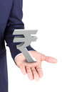 Business man holding rupee currency symbol isolated on white background Stock Photos