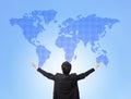 Business man hug global map Stock Image